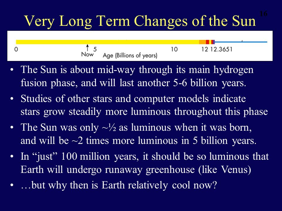 16 Very Long Term Changes of the Sun The Sun is about mid-way through its main hydrogen fusion phase, and will last another 5-6 billion years. Studies
