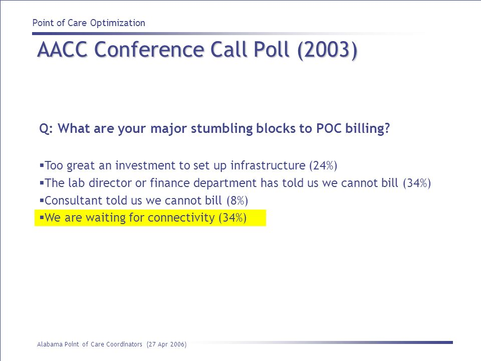 Point of Care Optimization Alabama Point of Care Coordinators (27 Apr 2006) AACC Conference Call Poll (2003) Q: What are your major stumbling blocks t