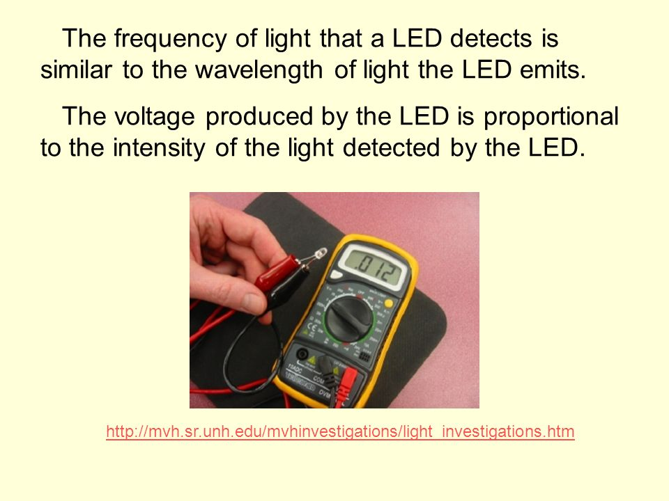 The frequency of light that a LED detects is similar to the wavelength of light the LED emits. The voltage produced by the LED is proportional to the