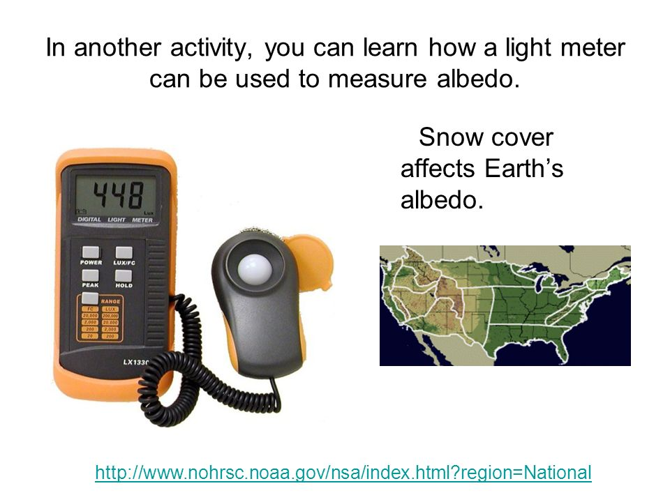 In another activity, you can learn how a light meter can be used to measure albedo.