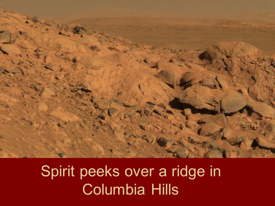 Spirit peeks over a ridge in Columbia Hills