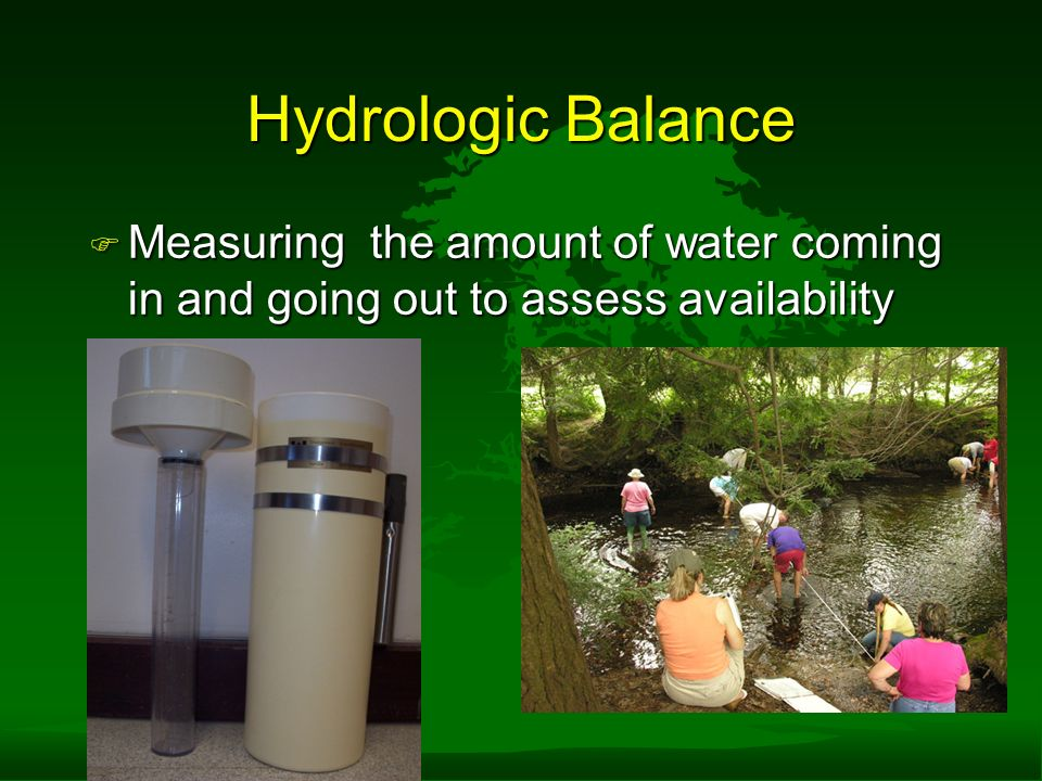 Hydrologic Balance F Measuring the amount of water coming in and going out to assess availability