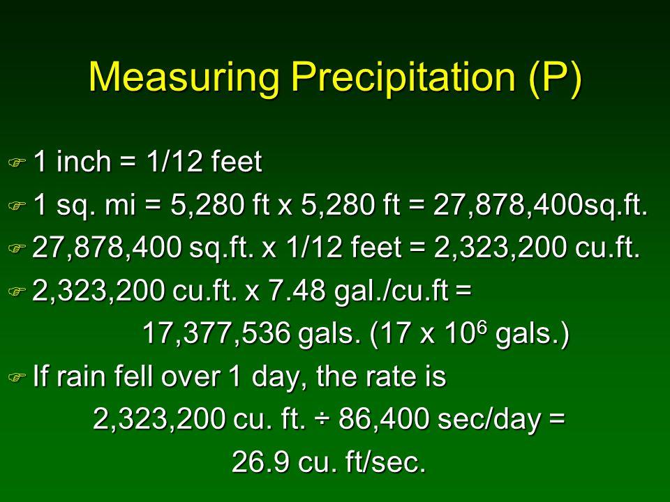 Measuring Precipitation (P) F 1 inch = 1/12 feet F 1 sq. mi = 5,280 ft x 5,280 ft = 27,878,400sq.ft. F 27,878,400 sq.ft. x 1/12 feet = 2,323,200 cu.ft