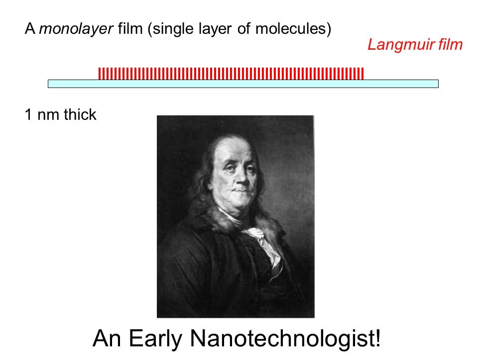 An Early Nanotechnologist! A monolayer film (single layer of molecules) 1 nm thick Langmuir film