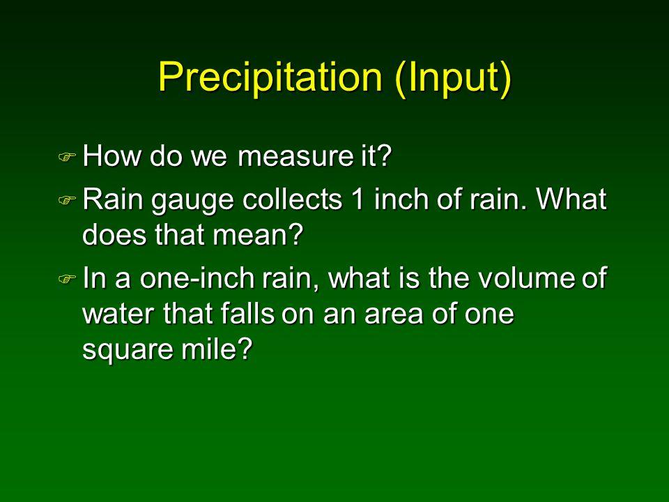 Precipitation (Input) F How do we measure it. F Rain gauge collects 1 inch of rain.