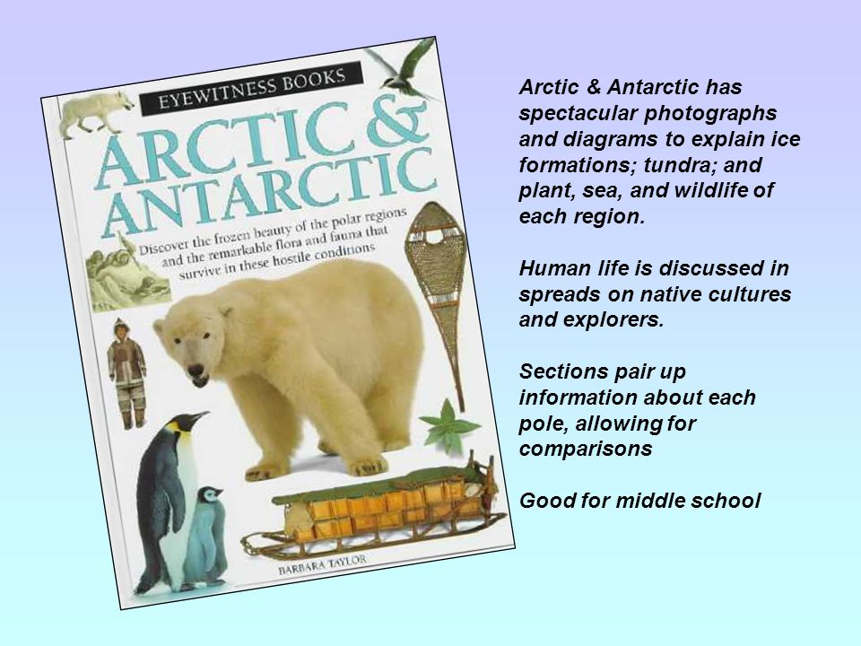 Arctic & Antarctic has spectacular photographs and diagrams to explain ice formations; tundra; and plant, sea, and wildlife of each region. Human life
