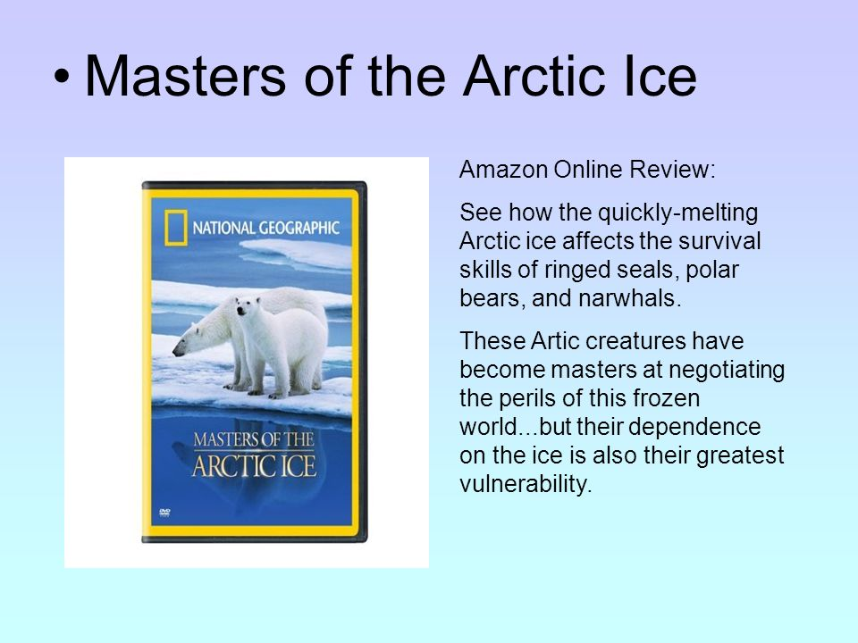 Masters of the Arctic Ice Amazon Online Review: See how the quickly-melting Arctic ice affects the survival skills of ringed seals, polar bears, and narwhals.