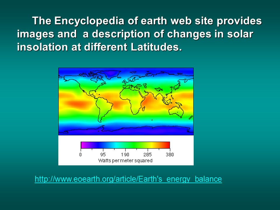 The Encyclopedia of earth web site provides images and a description of changes in solar insolation at different Latitudes.