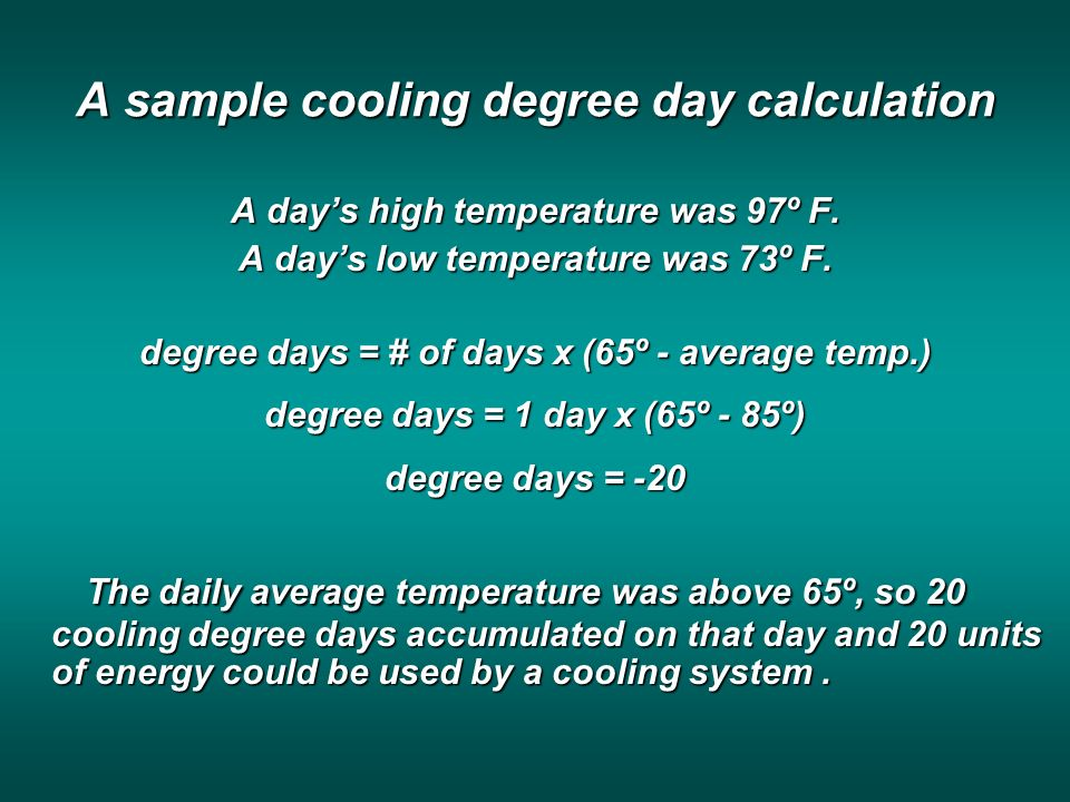 A sample cooling degree day calculation A days high temperature was 97º F.