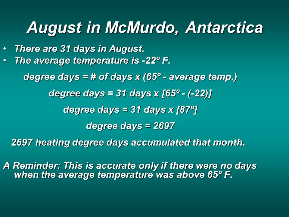 August in McMurdo, Antarctica There are 31 days in August.There are 31 days in August.