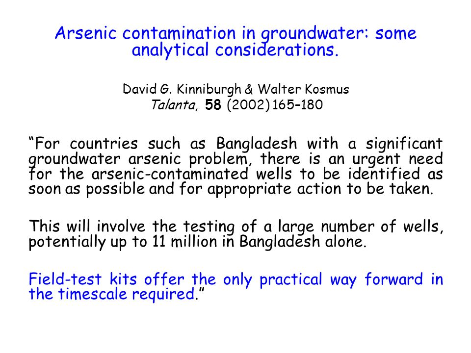 Arsenic contamination in groundwater: some analytical considerations.