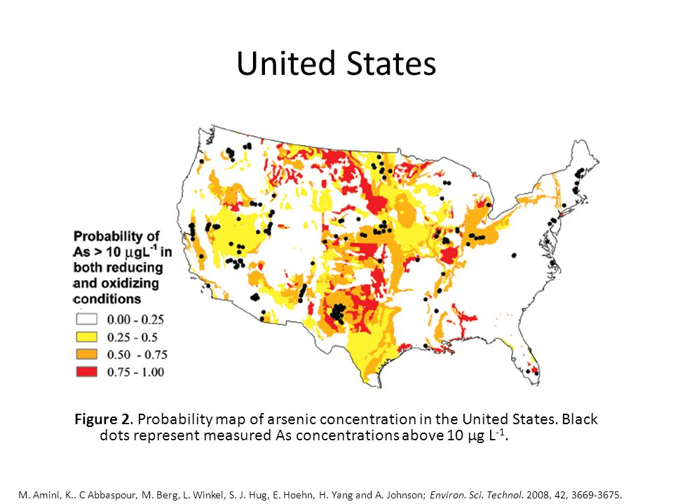 United States Figure 2. Probability map of arsenic concentration in the United States. Black dots represent measured As concentrations above 10 µg L -