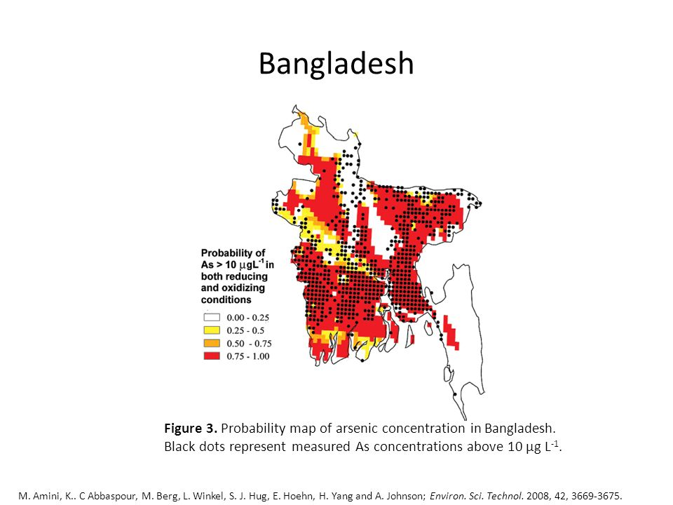 Bangladesh Figure 3. Probability map of arsenic concentration in Bangladesh. Black dots represent measured As concentrations above 10 µg L -1. M. Amin
