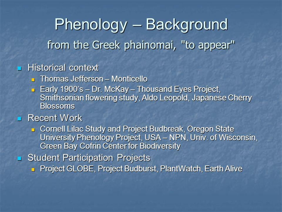 Phenology – Background from the Greek phainomai,