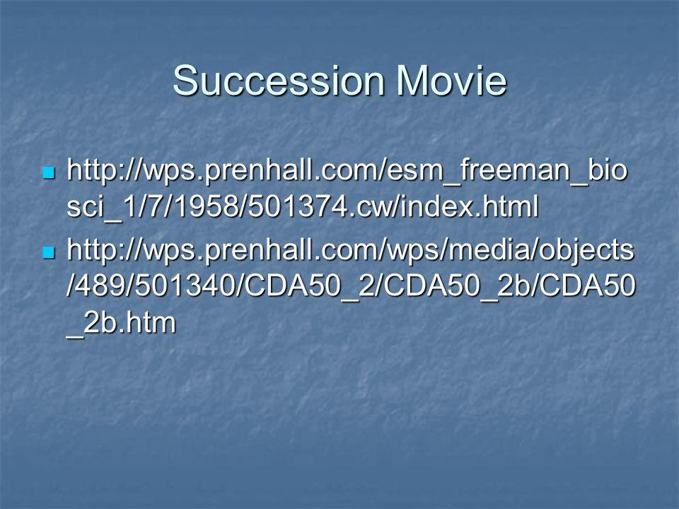 Succession Movie http://wps.prenhall.com/esm_freeman_bio sci_1/7/1958/501374.cw/index.html http://wps.prenhall.com/esm_freeman_bio sci_1/7/1958/501374