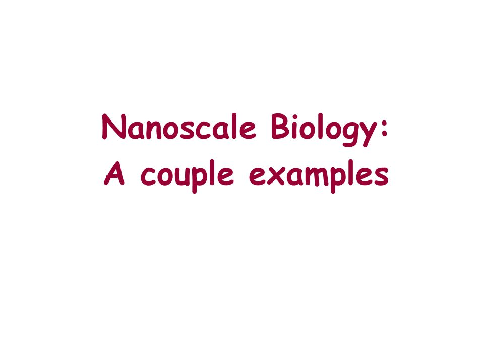 Nanoscale Biology: A couple examples