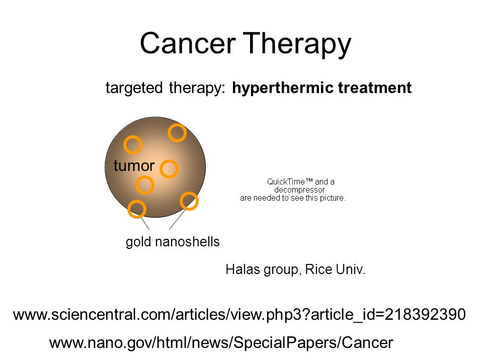 Cancer Therapy tumor gold nanoshells Halas group, Rice Univ.
