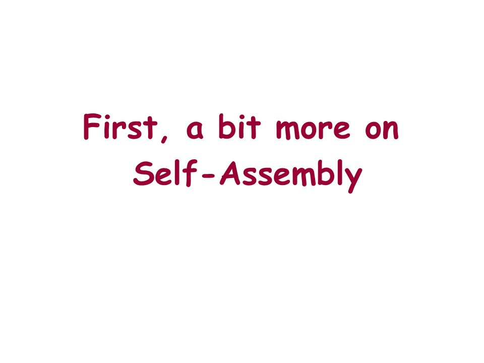 First, a bit more on Self-Assembly