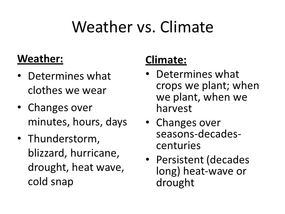 Web resources The difference between weather and climate: – http://www.ncdc.noaa.gov/paleo/ctl/digging_weather.html http://www.ncdc.noaa.gov/paleo/ctl/digging_weather.html – http://weathereye.kgan.com/cadet/climate/climate_vs.html http://weathereye.kgan.com/cadet/climate/climate_vs.html – http://www.gcrio.org/gwcc/booklet1.html http://www.gcrio.org/gwcc/booklet1.html Scroll down to History and Almanac for climate/weather averages http://www.wunderground.comhttp://www.wunderground.com The NEW National Climate Service http://www.climate.govhttp://www.climate.gov Retrieve plots of average weather conditions since 1895 http://www7.ncdc.noaa.gov/CDO/CDODivisionalSelect.jsp http://www7.ncdc.noaa.gov/CDO/CDODivisionalSelect.jsp Lots of data in tabular format http://www.wxresearch.com/usnorm.htm http://www.wxresearch.com/usnorm.htm Global Temperature Data http://data.giss.nasa.gov/gistemp/ http://data.giss.nasa.gov/gistemp/