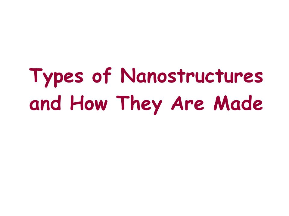 Types of Nanostructures and How They Are Made