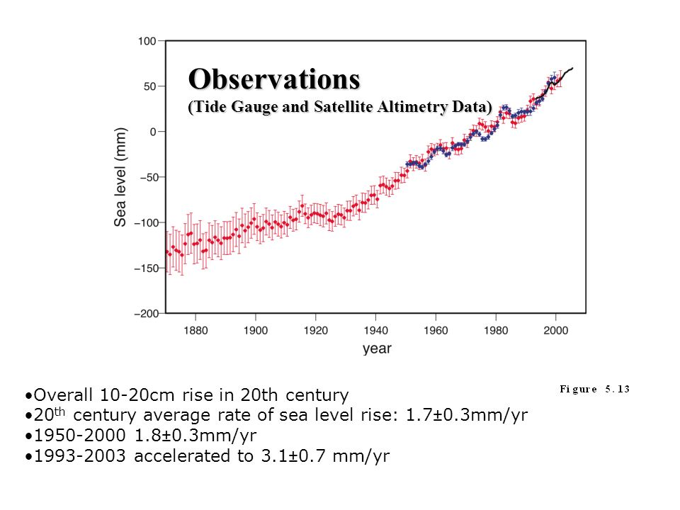 Overall 10-20cm rise in 20th century 20 th century average rate of sea level rise: 1.7±0.3mm/yr 1950-2000 1.8±0.3mm/yr 1993-2003 accelerated to 3.1±0.