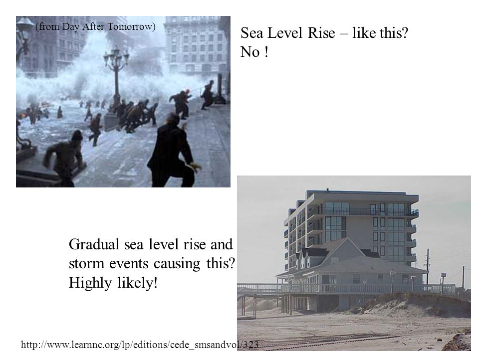 http://www.learnnc.org/lp/editions/cede_smsandvol/323 Sea Level Rise – like this? No ! Gradual sea level rise and storm events causing this? Highly li