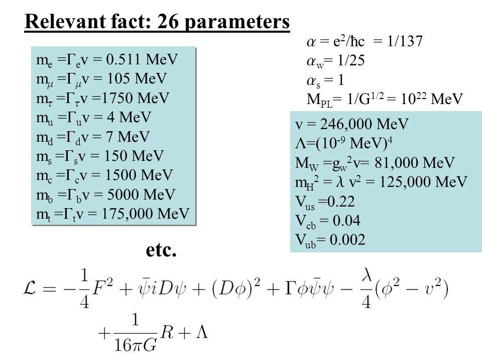 Relevant fact: 26 parameters m e = e v = 0.511 MeV m = v = 105 MeV m = v =1750 MeV m u = u v = 4 MeV m d = d v = 7 MeV m s = s v = 150 MeV m c = c v = 1500 MeV m b = b v = 5000 MeV m t = t v = 175,000 MeV m e = e v = 0.511 MeV m = v = 105 MeV m = v =1750 MeV m u = u v = 4 MeV m d = d v = 7 MeV m s = s v = 150 MeV m c = c v = 1500 MeV m b = b v = 5000 MeV m t = t v = 175,000 MeV v = 246,000 MeV L=(10 -9 MeV) 4 M W =g w 2 v= 81,000 MeV m H 2 = v 2 = 125,000 MeV V us =0.22 V cb = 0.04 V ub = 0.002 etc.