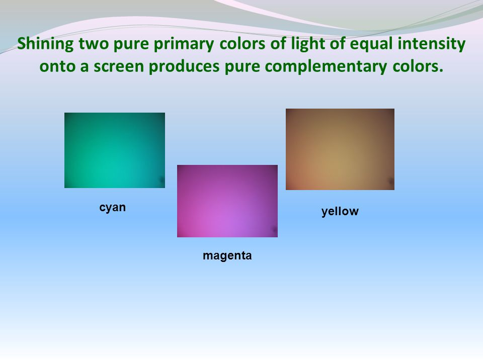 Shining two pure primary colors of light of equal intensity onto a screen produces pure complementary colors. cyan magenta yellow