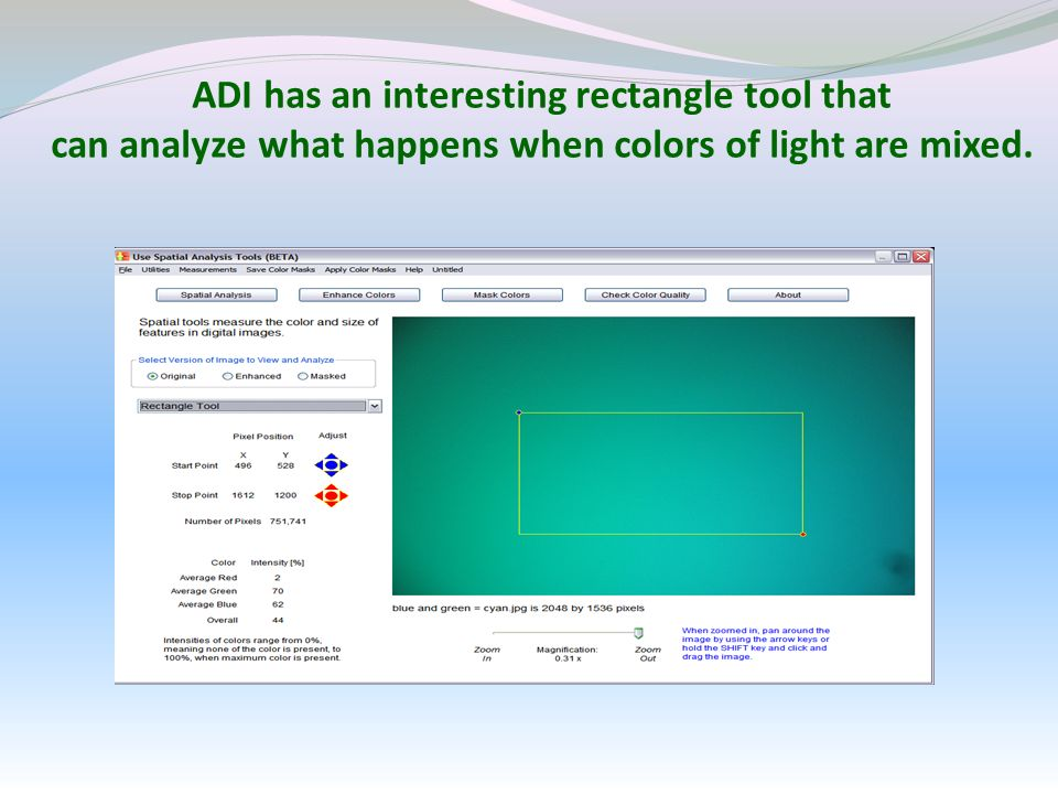 ADI has an interesting rectangle tool that can analyze what happens when colors of light are mixed. Is this a pure cyan color?