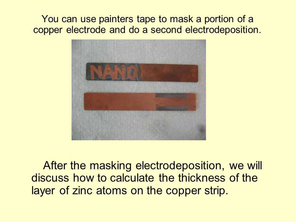 You can use painters tape to mask a portion of a copper electrode and do a second electrodeposition.