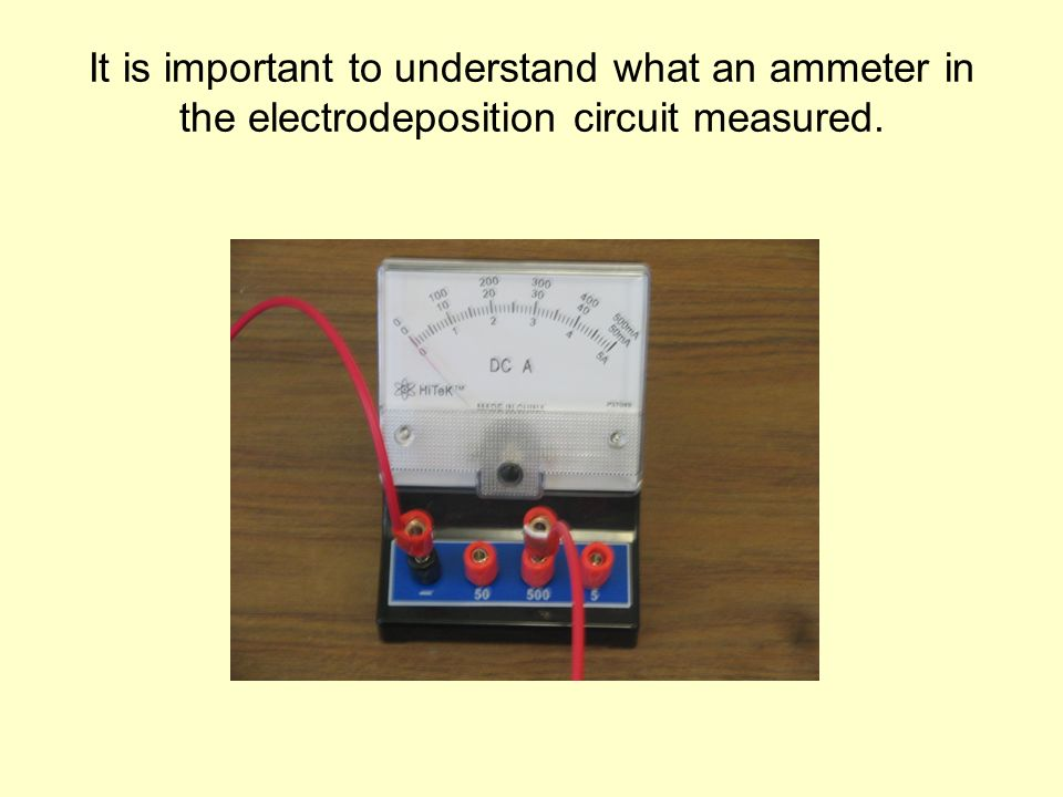 It is important to understand what an ammeter in the electrodeposition circuit measured.