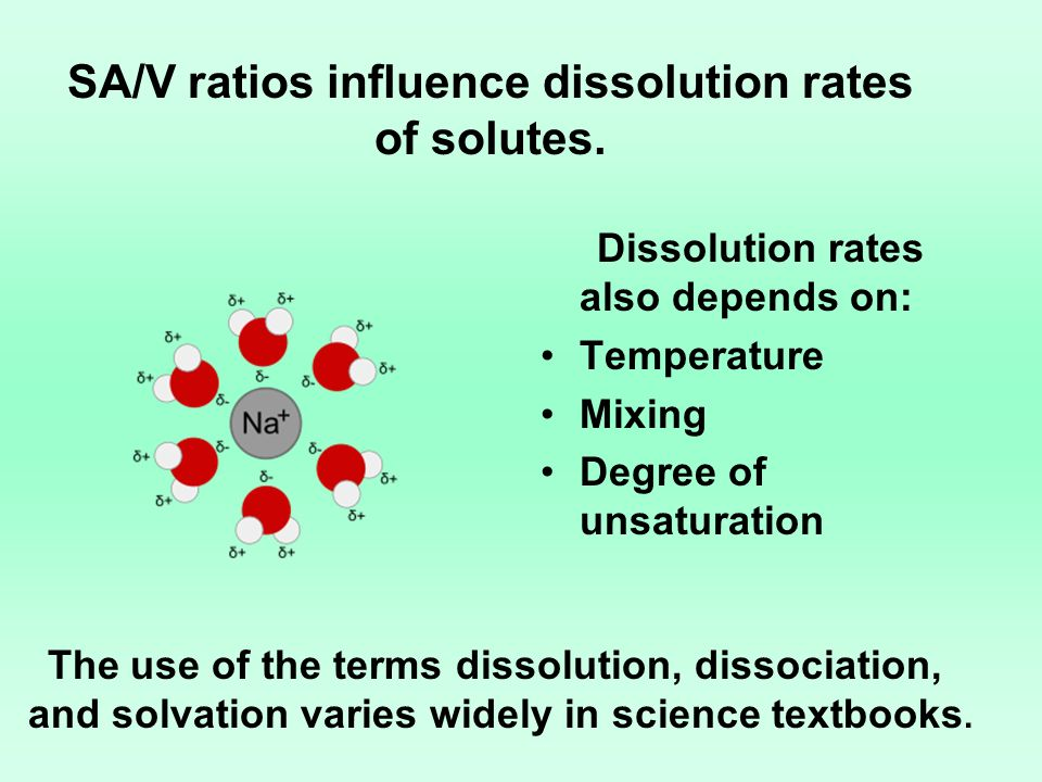 SA/V ratios influence dissolution rates of solutes. Dissolution rates also depends on: Temperature Mixing Degree of unsaturation The use of the terms