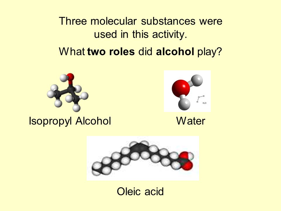 Three molecular substances were used in this activity.