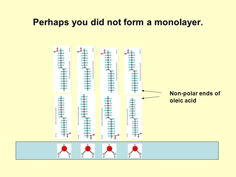 Perhaps you did not form a monolayer. Non-polar ends of oleic acid