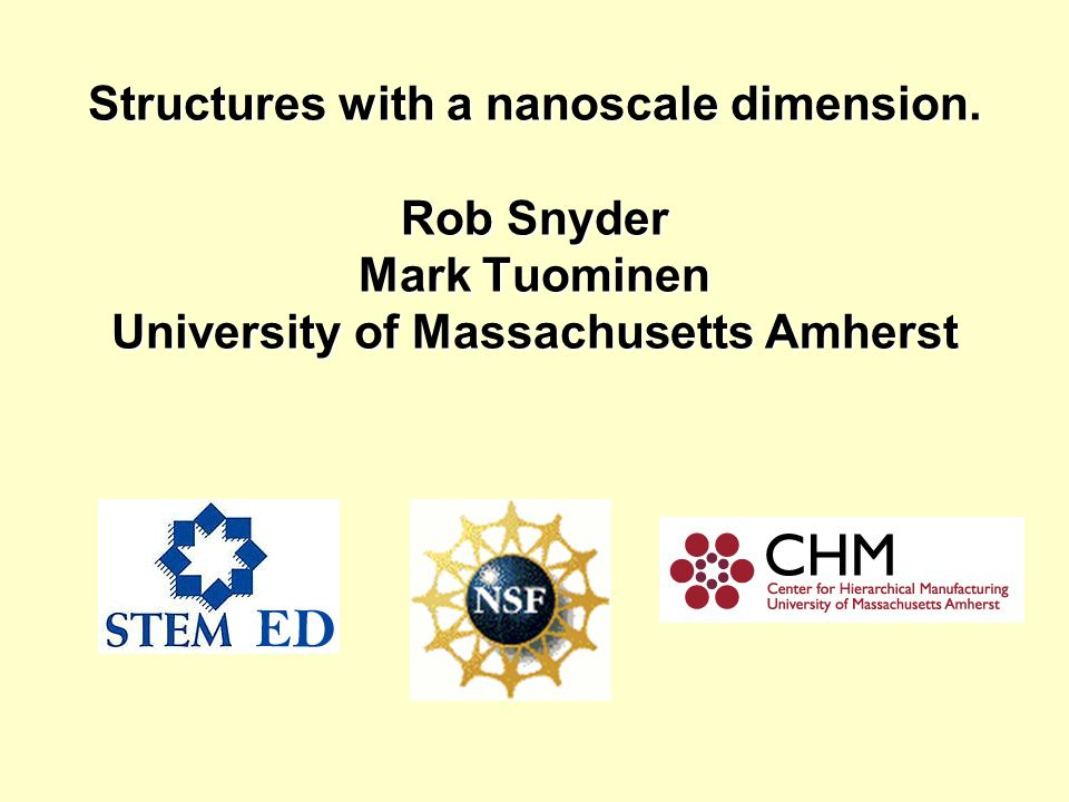 Structures with a nanoscale dimension. Rob Snyder Mark Tuominen University of Massachusetts Amherst