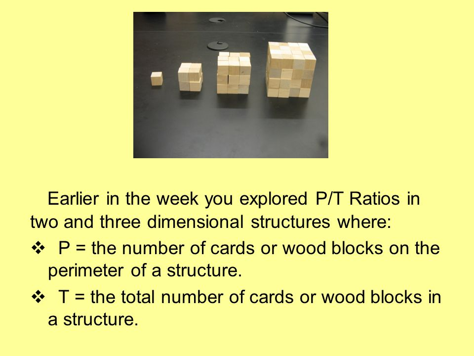 Earlier in the week you explored P/T Ratios in two and three dimensional structures where: P = the number of cards or wood blocks on the perimeter of a structure.