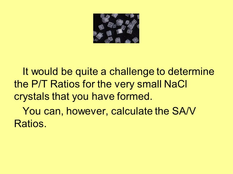 It would be quite a challenge to determine the P/T Ratios for the very small NaCl crystals that you have formed. You can, however, calculate the SA/V