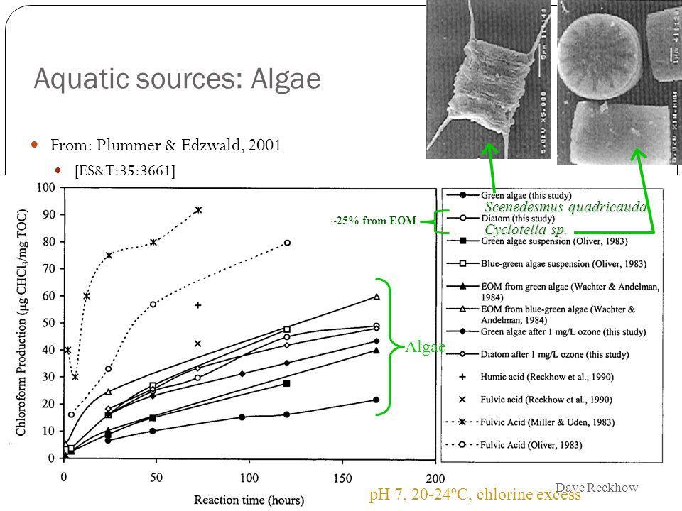 10 Aquatic sources: Algae Scenedesmus quadricauda Cyclotella sp. ~25% from EOM pH 7, 20-24ºC, chlorine excess Algae From: Plummer & Edzwald, 2001 [ES&