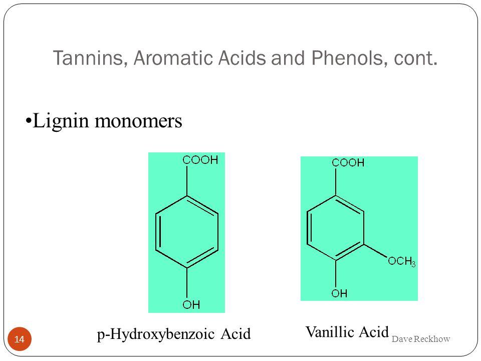 Tannins, Aromatic Acids and Phenols, cont. Lignin monomers p-Hydroxybenzoic Acid Vanillic Acid Dave Reckhow 14