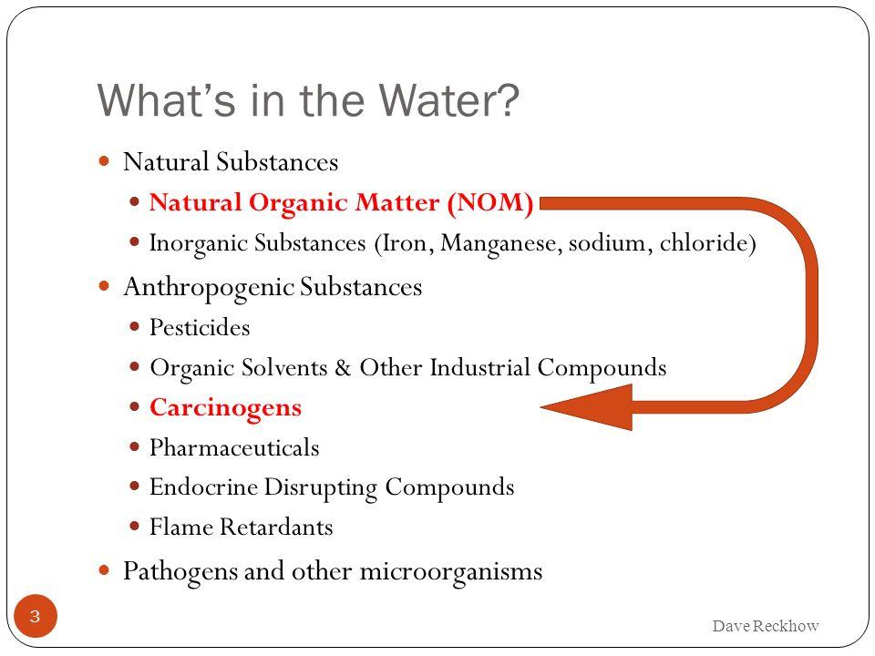 Whats in the Water? Natural Substances Natural Organic Matter (NOM) Inorganic Substances (Iron, Manganese, sodium, chloride) Anthropogenic Substances