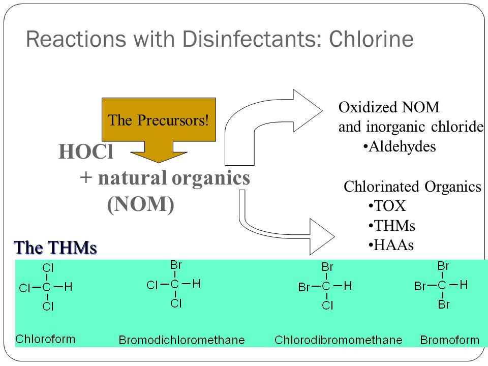 Reactions with Disinfectants: Chlorine 39 HOCl + natural organics (NOM) Oxidized NOM and inorganic chloride Aldehydes Chlorinated Organics TOX THMs HA