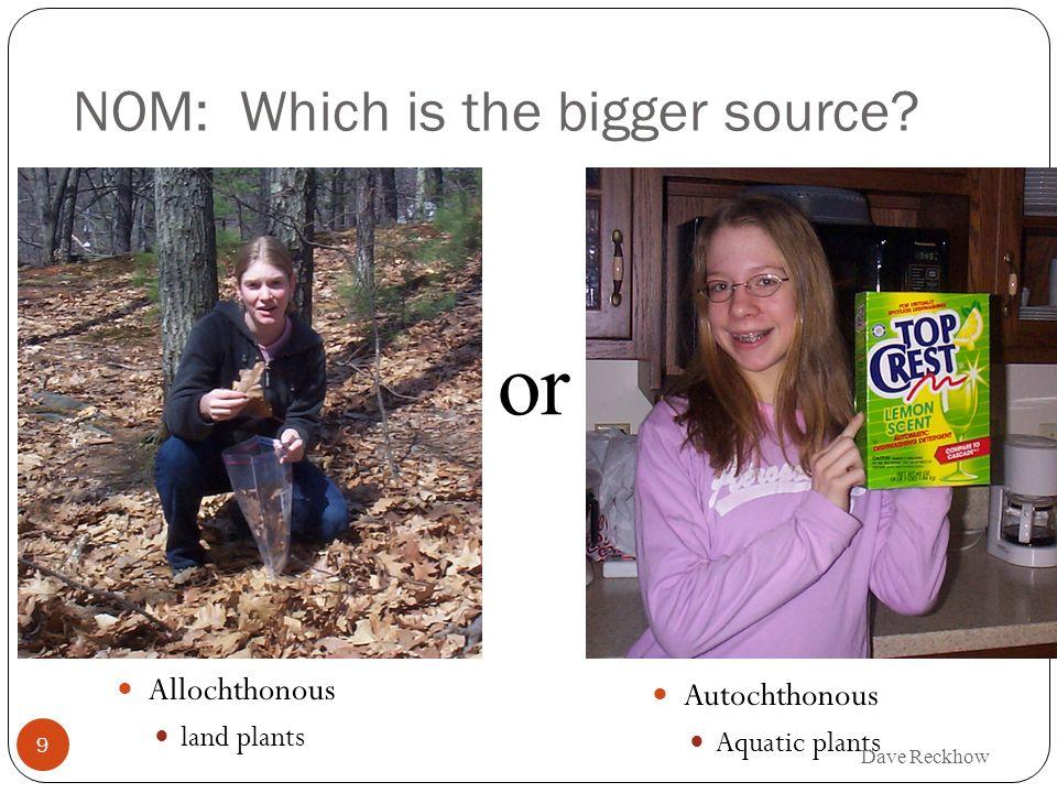 9 NOM: Which is the bigger source? Autochthonous Aquatic plants or Allochthonous land plants Dave Reckhow