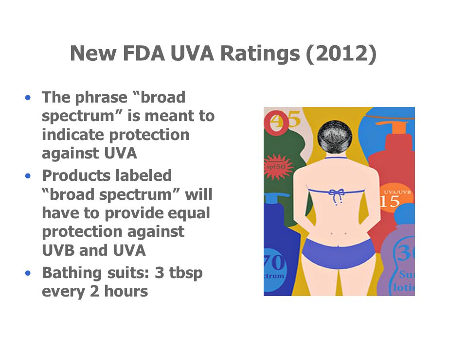 New FDA UVA Ratings (2012) The phrase broad spectrum is meant to indicate protection against UVA Products labeled broad spectrum will have to provide