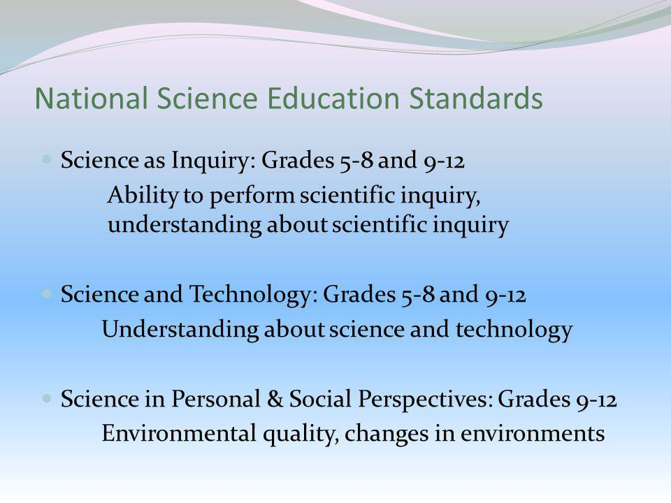 National Science Education Standards Science as Inquiry: Grades 5-8 and 9-12 Ability to perform scientific inquiry, understanding about scientific inq