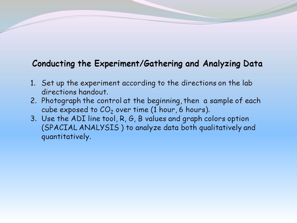 Conducting the Experiment/Gathering and Analyzing Data 1.Set up the experiment according to the directions on the lab directions handout. 2.Photograph