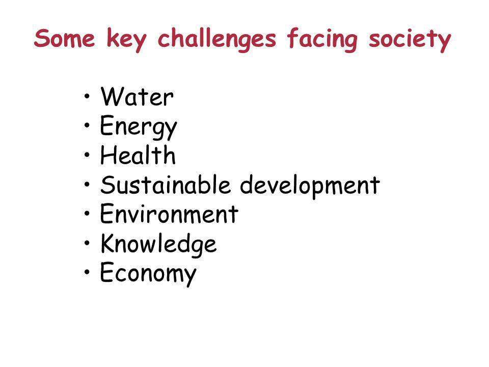 Some key challenges facing society Water Energy Health Sustainable development Environment Knowledge Economy