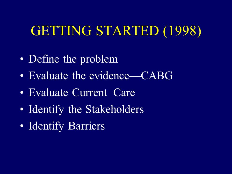 GETTING STARTED (1998) Define the problem Evaluate the evidenceCABG Evaluate Current Care Identify the Stakeholders Identify Barriers
