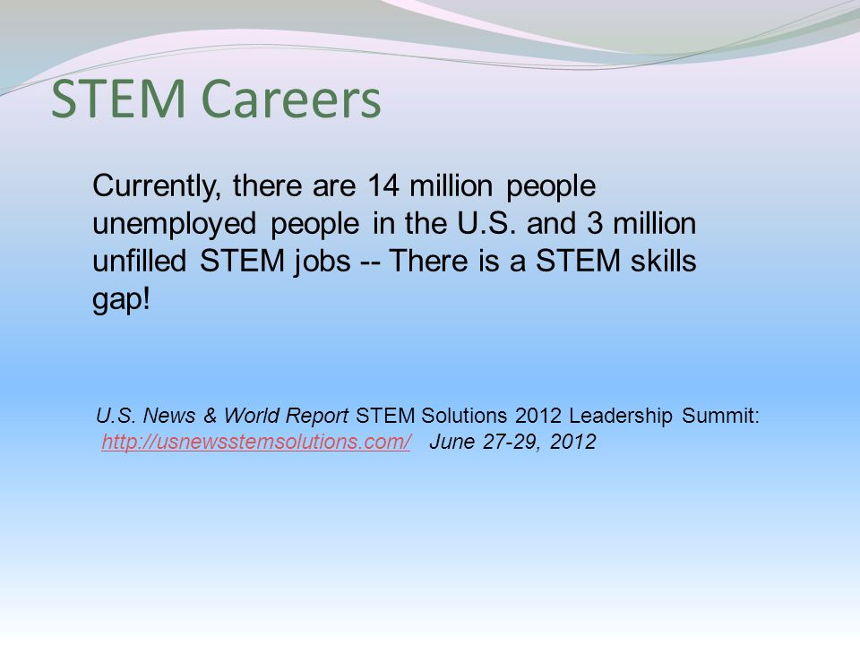 STEM Skills - Mathematical literacy - Ability to apply STEM knowledge to real-world situations - There are many technician-level jobs - Need many STEM-skilled people for sophisticated jobs in manufacturing - Typically, students are not aware of the types of jobs a STEM education can lead to Science DOI: 10.1126/science.caredit.a1200076 Michael Price July 6, 2012