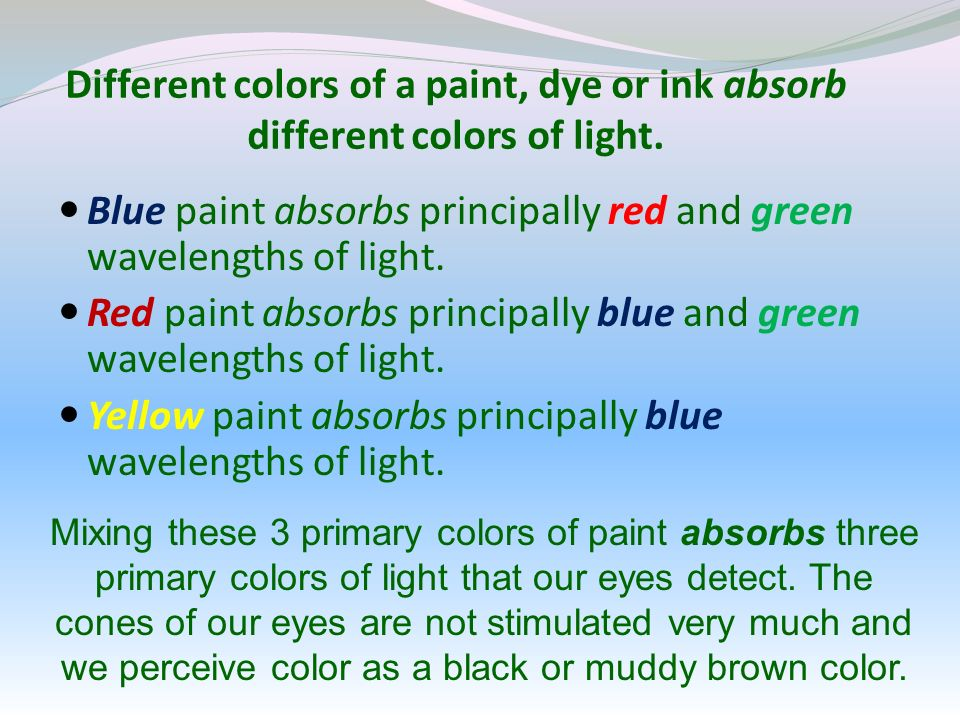 Different colors of a paint, dye or ink absorb different colors of light.