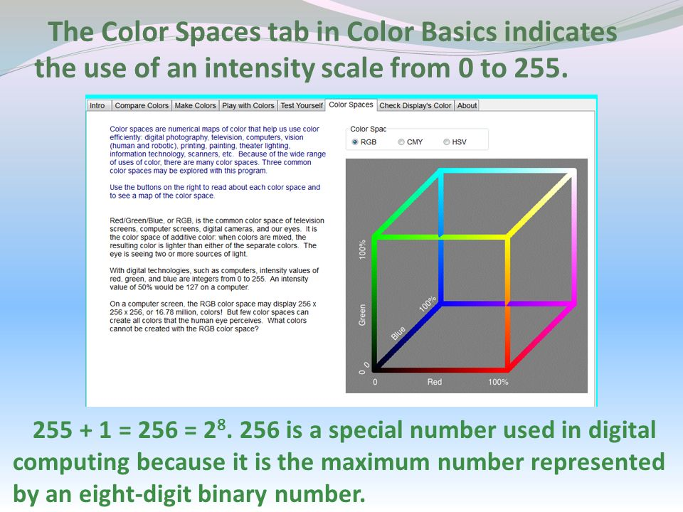 The Color Spaces tab in Color Basics indicates the use of an intensity scale from 0 to 255.